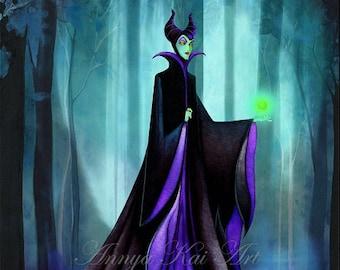 Disney Wall Art Maleficent - Dark Fantasy Wall Art - Disney Sleeping Beauty Evil Queen - Painting Print by Annya Kai
