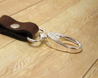 Dark Brown Clip On Key Chain, Chocolate Brown Leather Key Ring. Brown Key Fob, Leather Key Holder, Brown Purse Accessory, Leather Key Chain