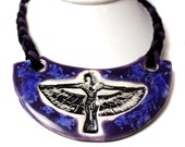 Egyptian Ceramic Necklace in Purple and Blue Adjustable Length