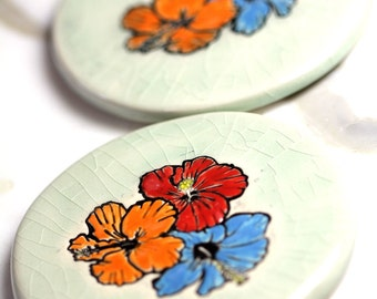 Hibiscus Flowers Ceramic Coaster Set with TWO Coasters in Crackle