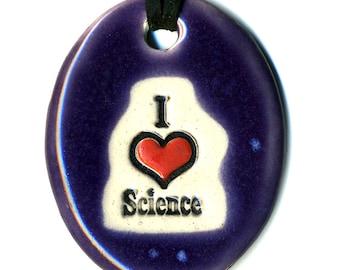 I love Science Ceramic Necklace in Purple