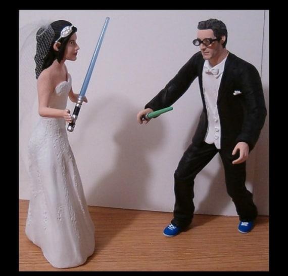 Custom Geek Battle Wedding Cake Toppers Figure By CreateYourTopper