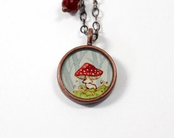Small Red Toadstool Forest Mushroom Hand Painted Necklace