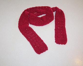 Hand Crochet Soft Red Neck Scarf