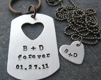 Personalized His and Hers Keychain and Necklace Set, aluminum dog tag, heart cut out, gunmetal chain, customized, read listing for specs