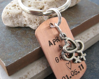 Personalized Lesbian Wedding Keychain, Copper Dog Tag, silver split ring attached or lobster clasp avail, women