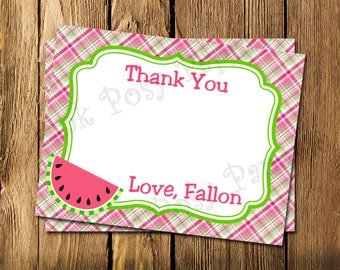 Printable Personalized Watermelon Birthday Theme Flat Thank You Note Cards