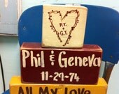 All my love all my life sign chunky wooden blocks Personalized name heart initials Valentine