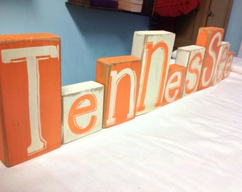 Tennessee sign letters wood blocks any STATE shelf sitters team colors custom
