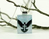 Cross Dove Pendant - Dichroic Cross Necklace - Dichroic Jewelry - Fused Glass Christian Pendant