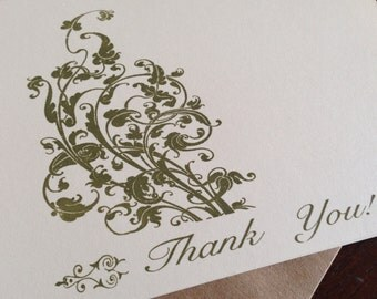 Filigree Thank You Cards, Screen Printed Greeting Card