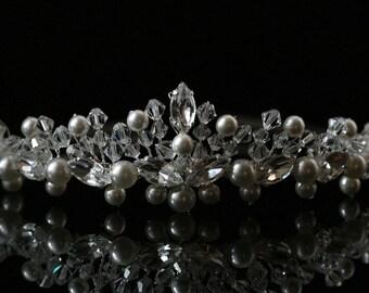Bride / Wedding Tiara made with Swarovski Crystal Beads, Rhinestones and Pearls