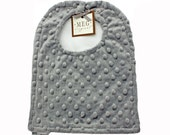 Gray Minky Dot Adjustable Snap Baby-to-Toddler Bib, 808
