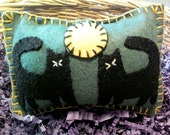 Halloween Primitive Twin Black Cats with Full Moon - pincushion, pin keep, mini pillow, bowl filler, shelf tuck, penny rug pillow