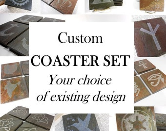 Personalized Coasters: MIX-N-MATCH, Choose Up to 4 Existing Designs - Hand Carved Slate Coasters, Set of 4 Stone Coasters, Custom Coasters