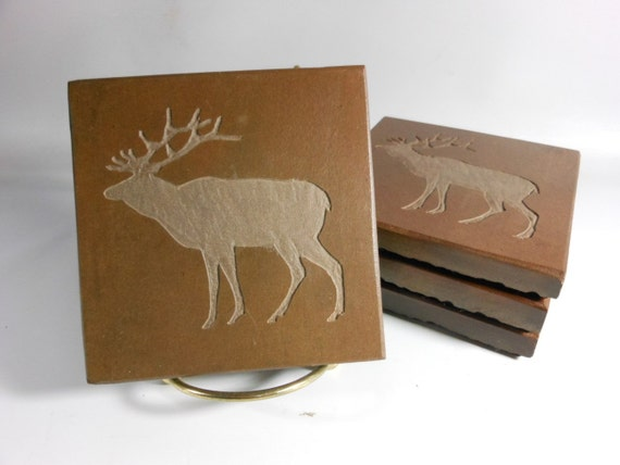 Stone Coasters: DEER Coasters - 4 Etched Slate Coasters, Carved Slate Coasters, Rustic Coasters, Lodge Coasters, Cabin Decor, Hunter Gifts