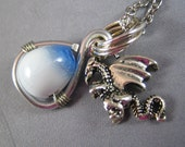 RESERVED for thebaglady608 - Origins - Western dragon and egg silver charm glass bead necklace