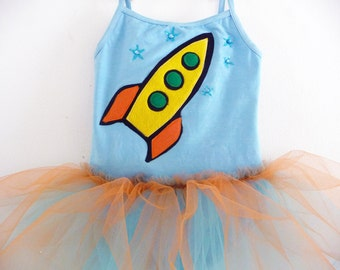 SPACE TUTU - Space Leotard - Astronaut Tutu - Personalized -  Space Party - Sizes 18/24 months, 2/4 years, 4/6 years, 6/8 years and up