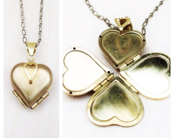 Locket Necklace-Heart Transforms into Four Leaf Clover-Gold Brass Women's Gift Family Locket-Vintage Style Pendant-Four Picture Locket