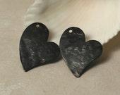 Hand hammered blackened oxidized brass heart charm dangle drop pendant size 17x15mm, 2 pcs (item ID XW01295BK)