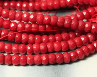 Red coral faceted rondelle 6mm, 20 pcs (item ID RCFRN6)