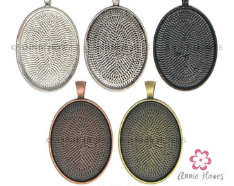 30mm x 40mm Oval Pendant Trays to use with Annie Howes 30 x 40 Glamour FX Glass Cabochons. Silver, Bronze, Copper, or Black.. 25 Pack