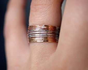 Mixed Metal Stack ring set, Rose Gold, Yellow Gold and Sterling Silver stack rings, Set of 10, stackable rings, mixed metal rings