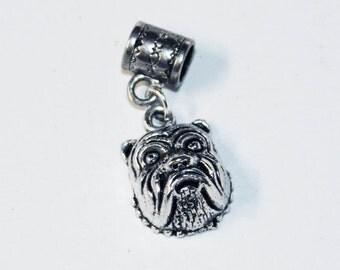 Silver BULLDOG Lrg Hole Bead Fits All European Add a Bead Charm Bracelet Jewelry Pnd-Anm107