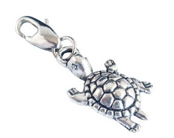 Build Your Bracelet - Silver Turtle Charm Clip on Add a Charm Jewelry OR for a Pet Collar PC-Anm019