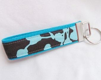 Wristlet Key Fob Key Chain in Amy Butler Coriander in Pine  - Choose Aqua or Charcoal webbing
