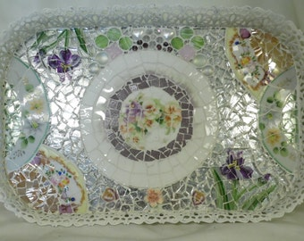 shabby cottage chic vanity tray or wall hanging crystal opulence french country boudior