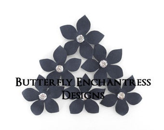 Gray Wedding, Wedding Hair Flowers, Bridal Flower Hair - 6 Charcoal Grey Harper Jasmine Hair Flower Pins - Rhinestone Centers