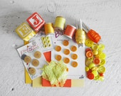 SALE - Orange and Yellow Craft Supplies - Mostly Vintage