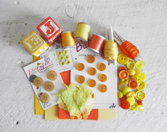 Orange and Yellow Craft Supplies - Mostly Vintage