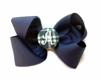 EVERYDAY HAIR BOW - Monogram Center - Plaid Center on Navy blue or White HairBow - Size Medium School uniform hair bows preppy ponytail Bow