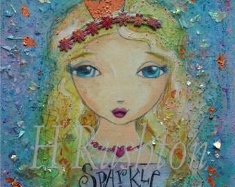 Original Art- Mixed Media Painting- Folk Art Girl- Girls Inspirational Wall Art- 9x12