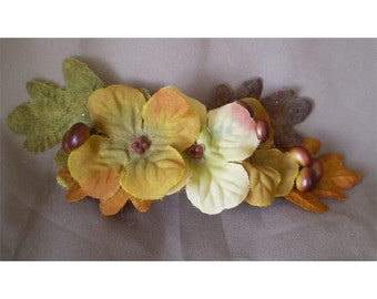 Autumn woodland floral barrette bridal hair flower accessory fall harvest rustic wedding flowers boho bride renaissance costume