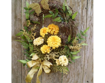 Marigold butterfly yellow floral wreath shabby chic arrangement flower door decoration rustic woodland flowers home decor Mother's Day gift