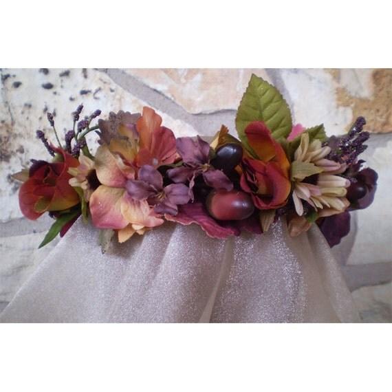 Floral head wreath Autumn bridal crown renaissance faerie costume hair piece