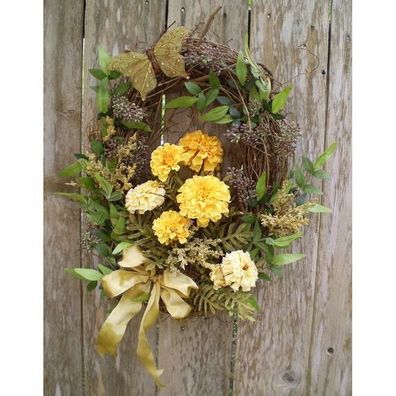 home decor door hanger honeysuckle vine marigold floral wreath