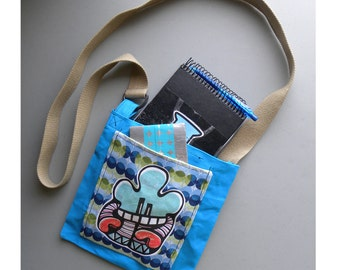 Canvas - Mini Tote - Bag - Purse - Robot - Cartoon - Iggos Bubbles - Teal
