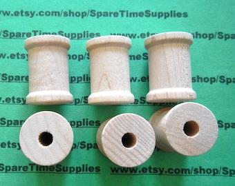 """SP8000WW12  Wood Spools  - 1-3/16"""" tall x 7/8"""" wide w/ 1/4""""hole - 12 pcs"""