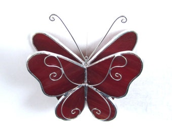 Garnet Wings - 3D Stained Glass Butterfly Twirl - Small Red Hanging Suncatcher Home Garden Decor 3Dimensional Ornament