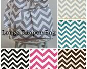 Custom Diaper Bag Chevron - 6 Pockets Adjustable Strap  Key Fob Reversible