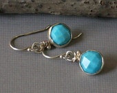 Turquoise Earrings Round Faceted Turquoise Dangle Earrings