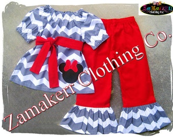 Custom Boutique Clothing Girl Minnie Mouse Chevron Outfit Set Christmas Birthday Red Pant Set  Size 3 6 9 12 18 24 month 2T 3T 4T 5T 6 7 8