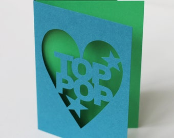 Top Pop Hand Cut Fathers Day Papercut Greetings Card - You Choose Colours - Teal and Lime IN STOCK