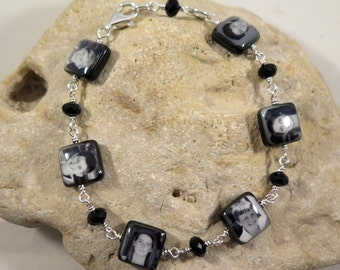 Custom Photo Bracelet with 6 small Black Lip Mother of Pearl Charms wire-wrapped with choice of beads