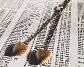 tiny heart locket necklace -  brass hearts