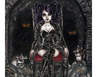 Rat Queen Colored Pencil Drawing 4x6, 5x7, or 8x10 Art Print Goth